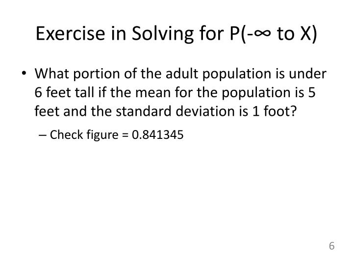 Exercise in Solving for P(-∞ to X)