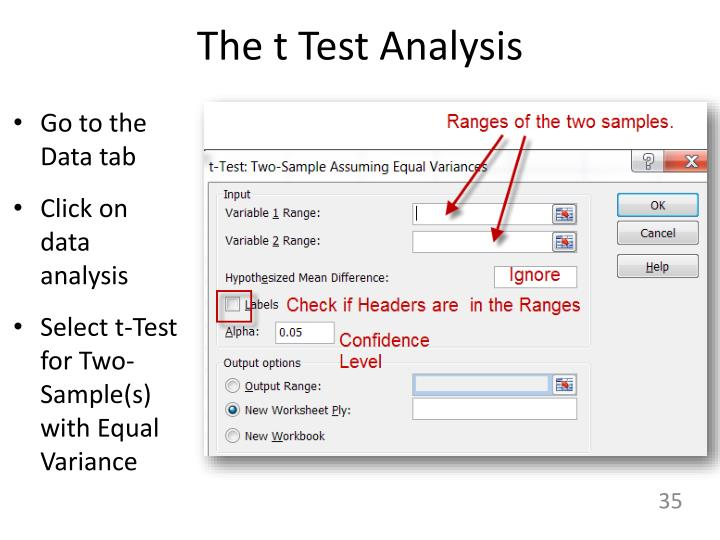 The t Test Analysis