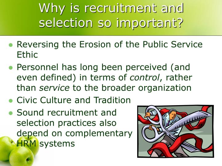 the recruitment and selection systems Recruitment (hiring) refers to the overall process of attracting, shortlisting, selecting and appointing suitable candidates for jobs (either permanent or temporary) within an organization.