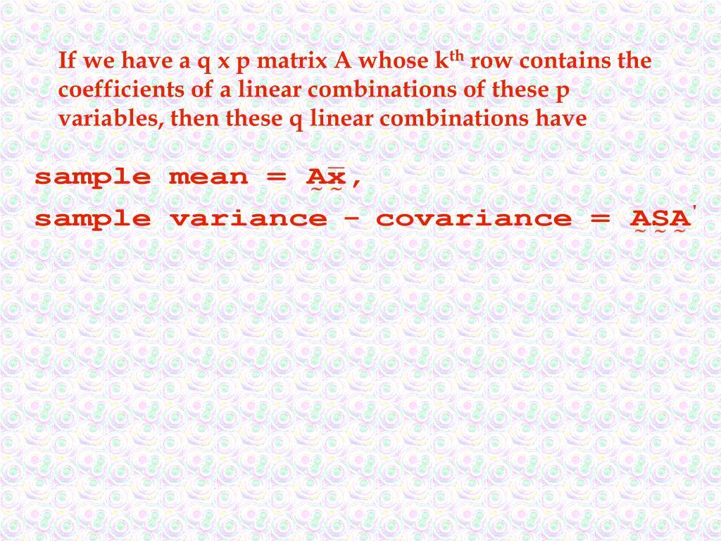 If we have a q x p matrix A whose k
