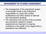 management of student assessment