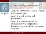 maintain a tight instructional focus