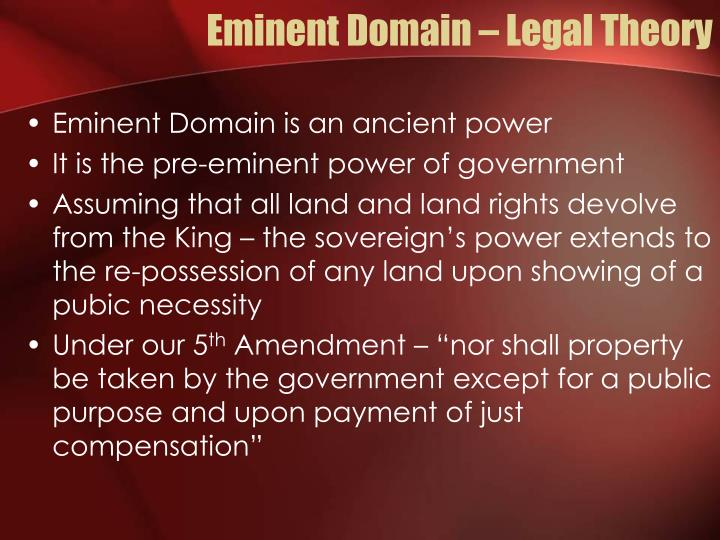 Eminent domain legal theory