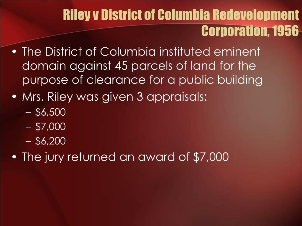 Riley v District of Columbia Redevelopment Corporation, 1956