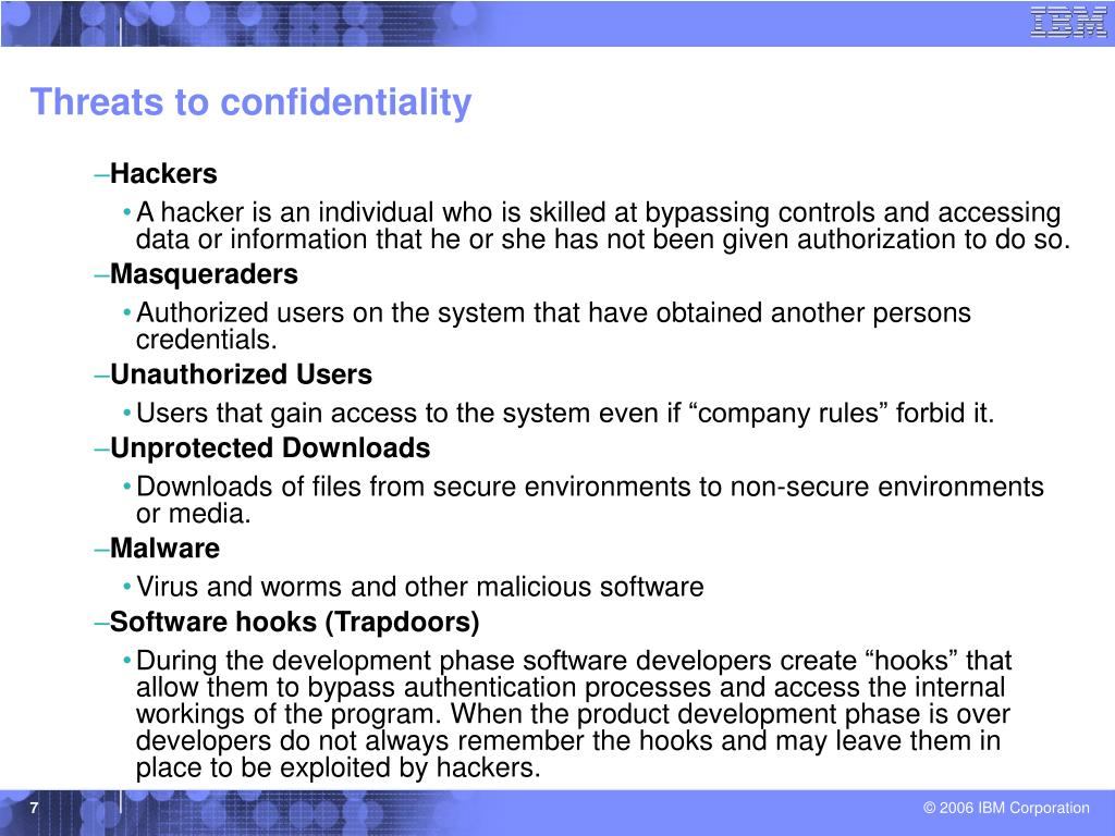 Threats to confidentiality