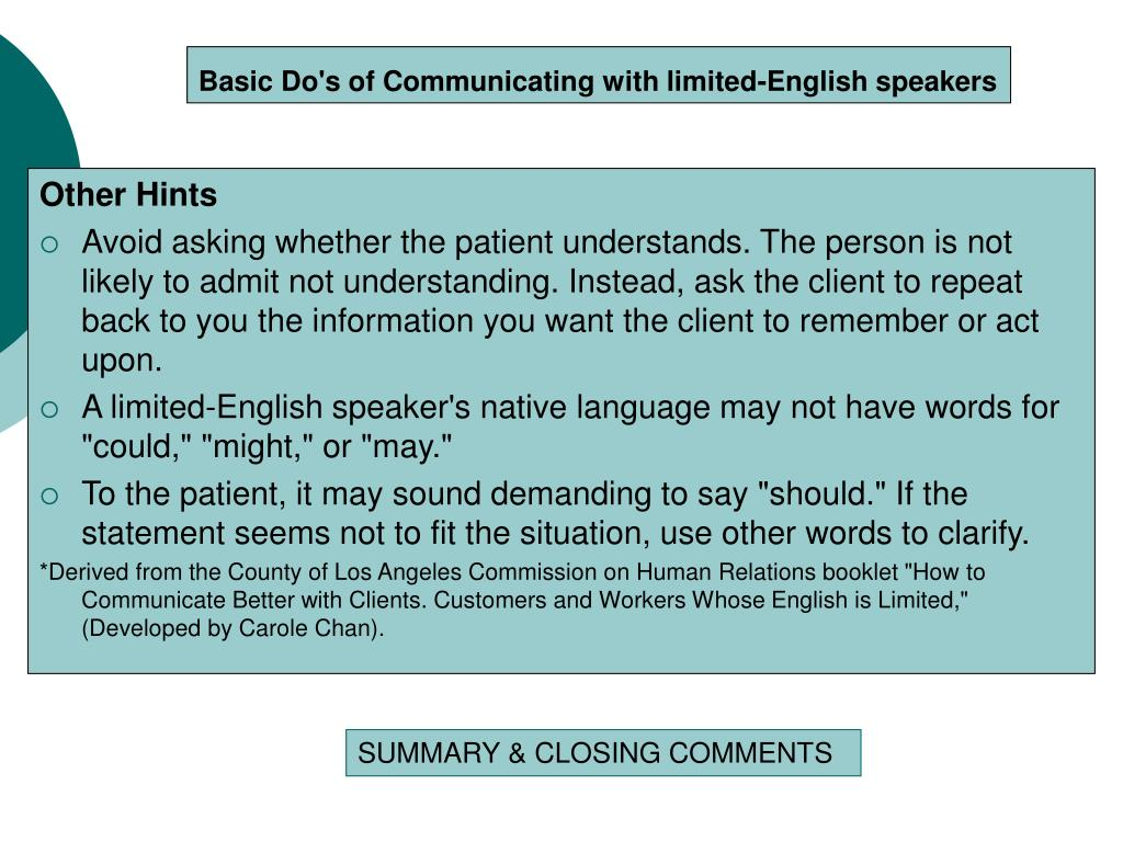 Basic Do's of Communicating with limited-English speakers
