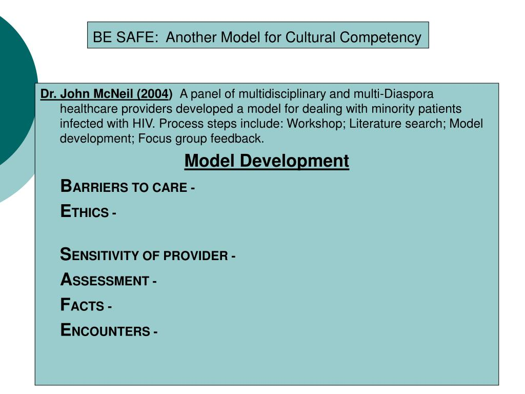 BE SAFE:  Another Model for Cultural Competency