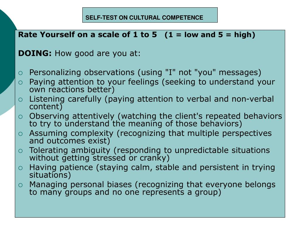 SELF-TEST ON CULTURAL COMPETENCE
