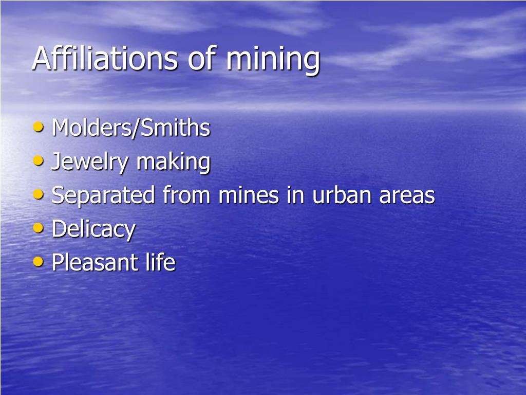 Affiliations of mining