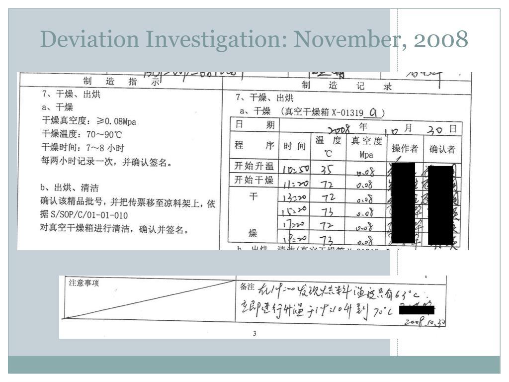 Deviation Investigation: November, 2008
