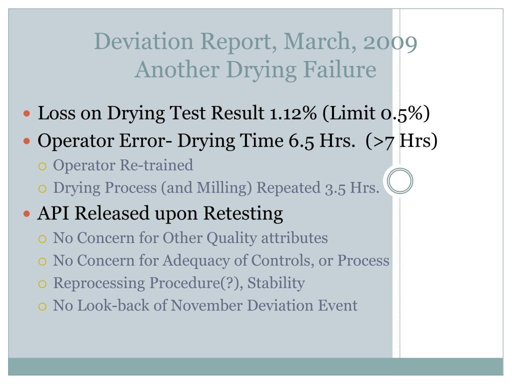 Deviation Report, March, 2009