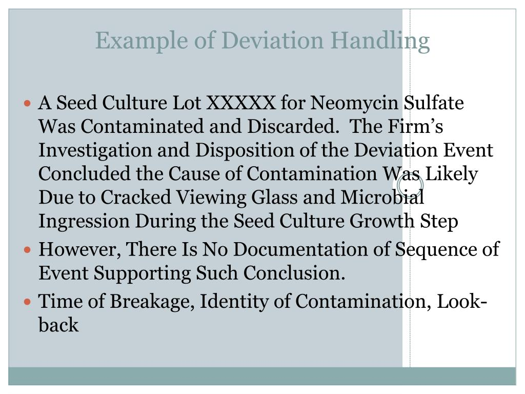 Example of Deviation Handling