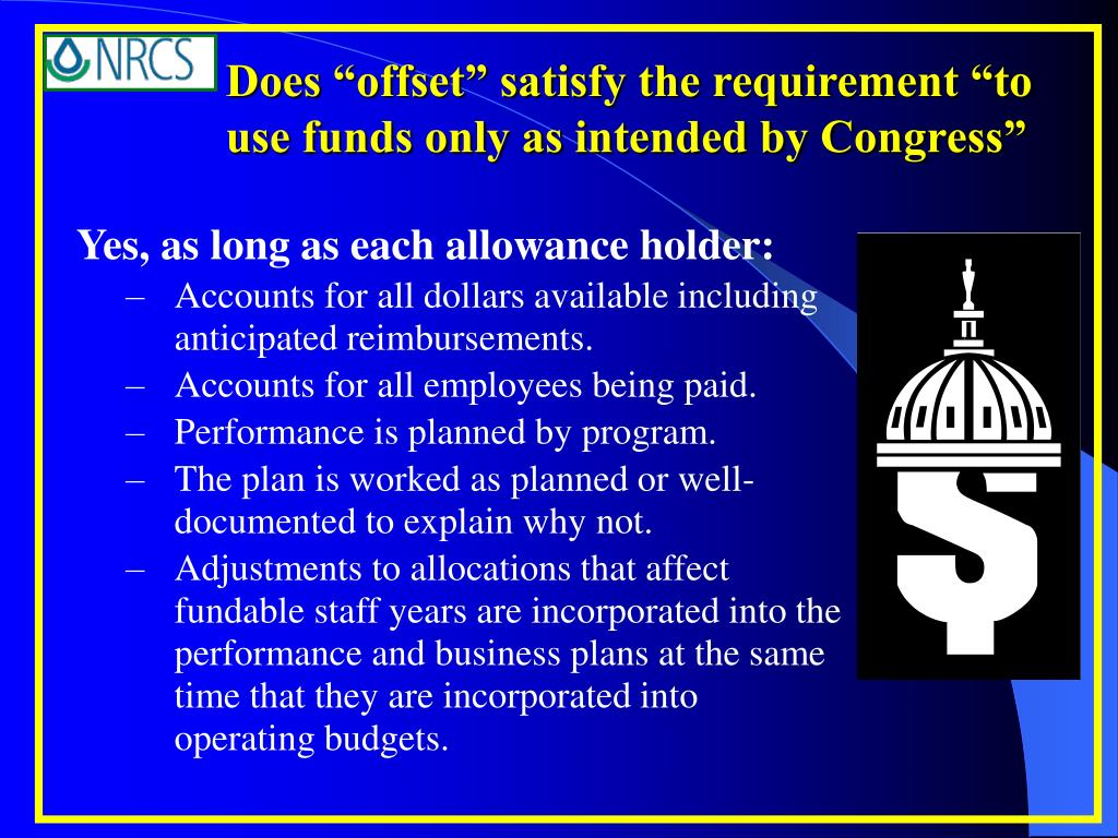 "Does ""offset"" satisfy the requirement ""to use funds only as intended by Congress"""