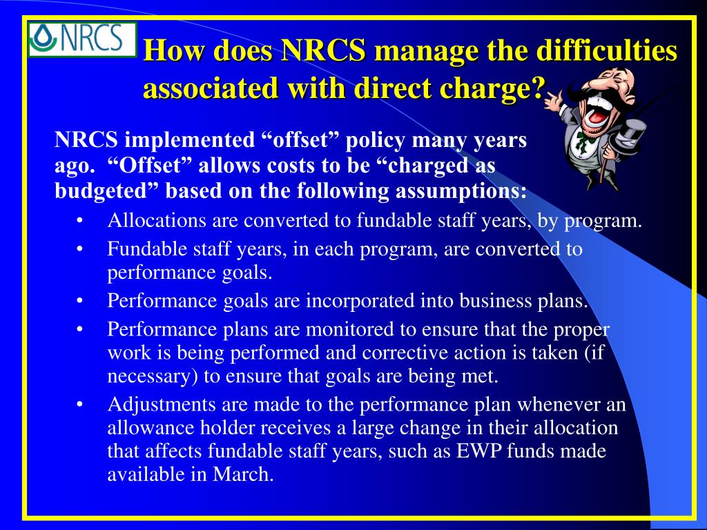 How does NRCS manage the difficulties associated with direct charge?