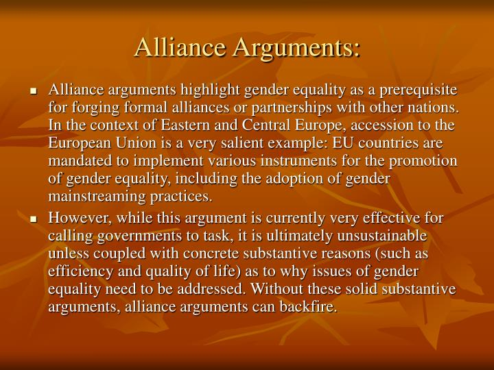 Alliance Arguments: