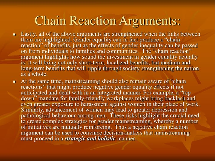 Chain Reaction Arguments: