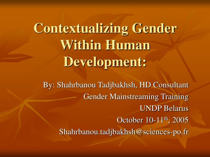 Contextualizing gender within human development