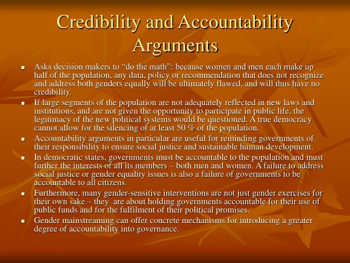 Credibility and Accountability Arguments