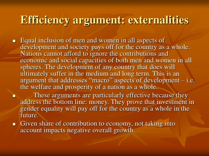 Efficiency argument: externalities