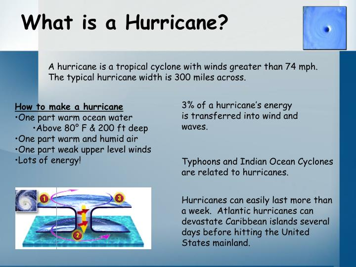 what are the hurrian 5th(9) hurricanes hurricanes are large tropical storms that develop in the oceans of the world hurricanes gather heat and energy from the warm ocean water.