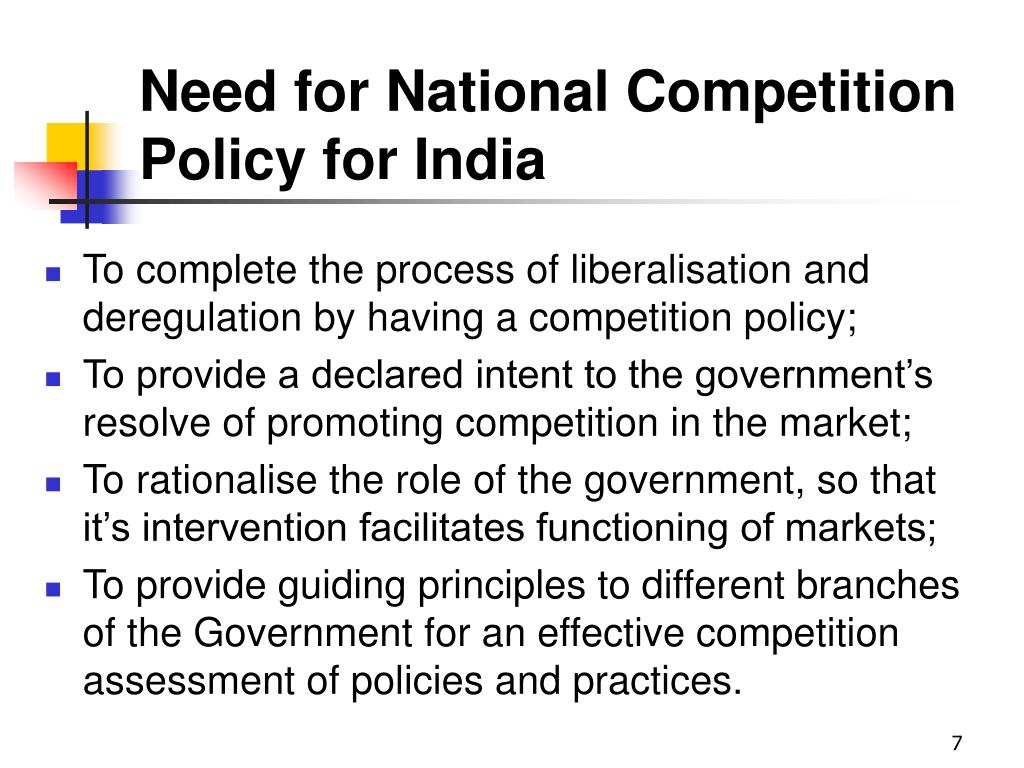 Need for National Competition Policy for India