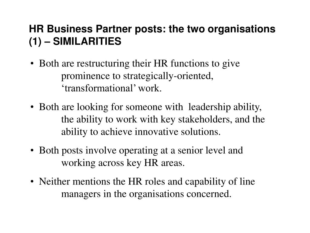 HR Business Partner posts: the two organisations (1)