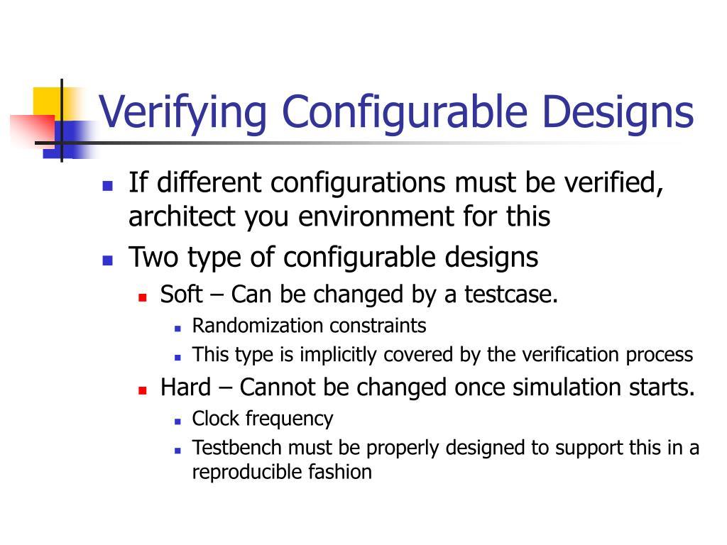 Verifying Configurable Designs