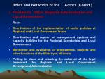 roles and networks of the actors contd