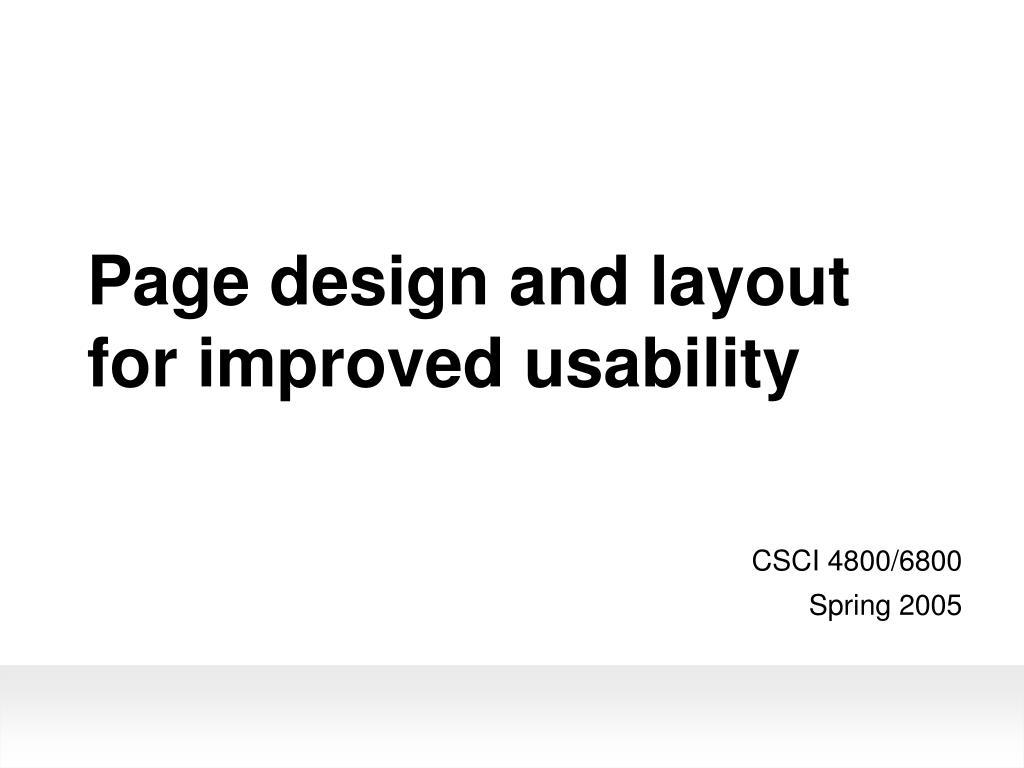 page design and layout for improved usability l.