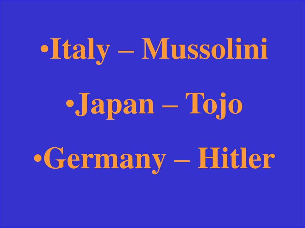 Italy – Mussolini