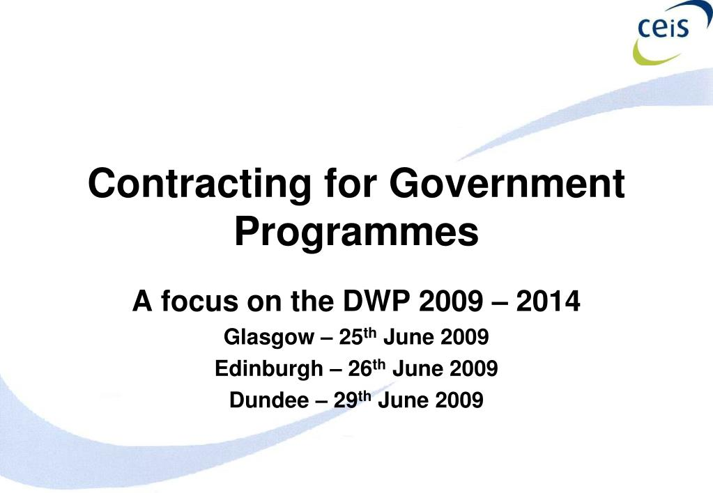 contracting for government programmes l.
