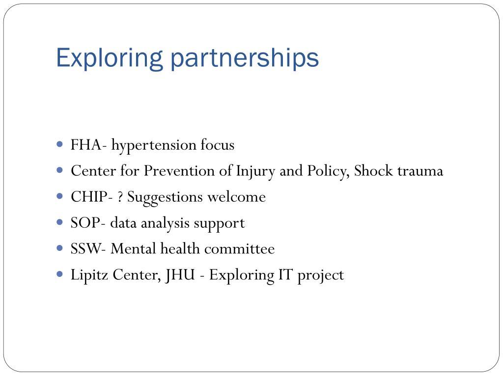 Exploring partnerships