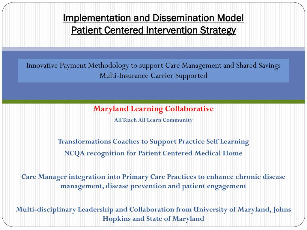 Implementation and Dissemination Model