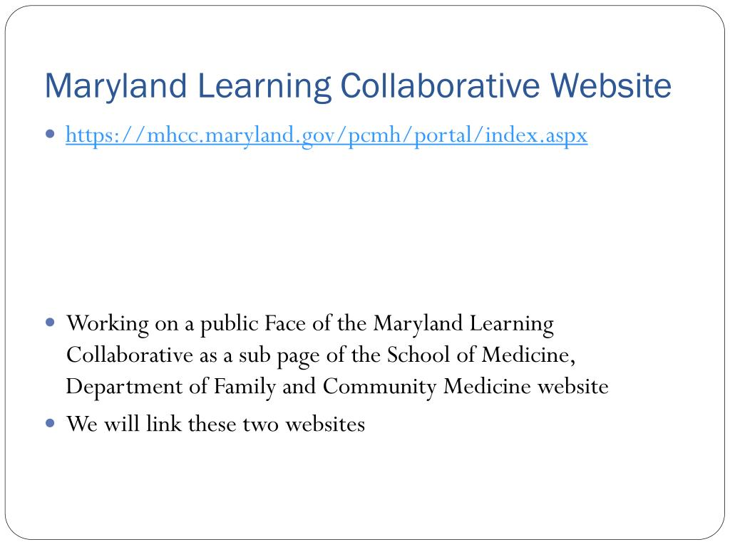 Maryland Learning Collaborative Website