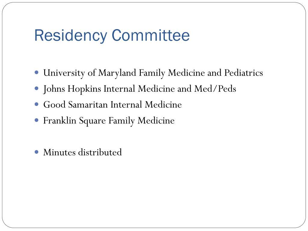 Residency Committee