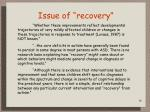 issue of recovery