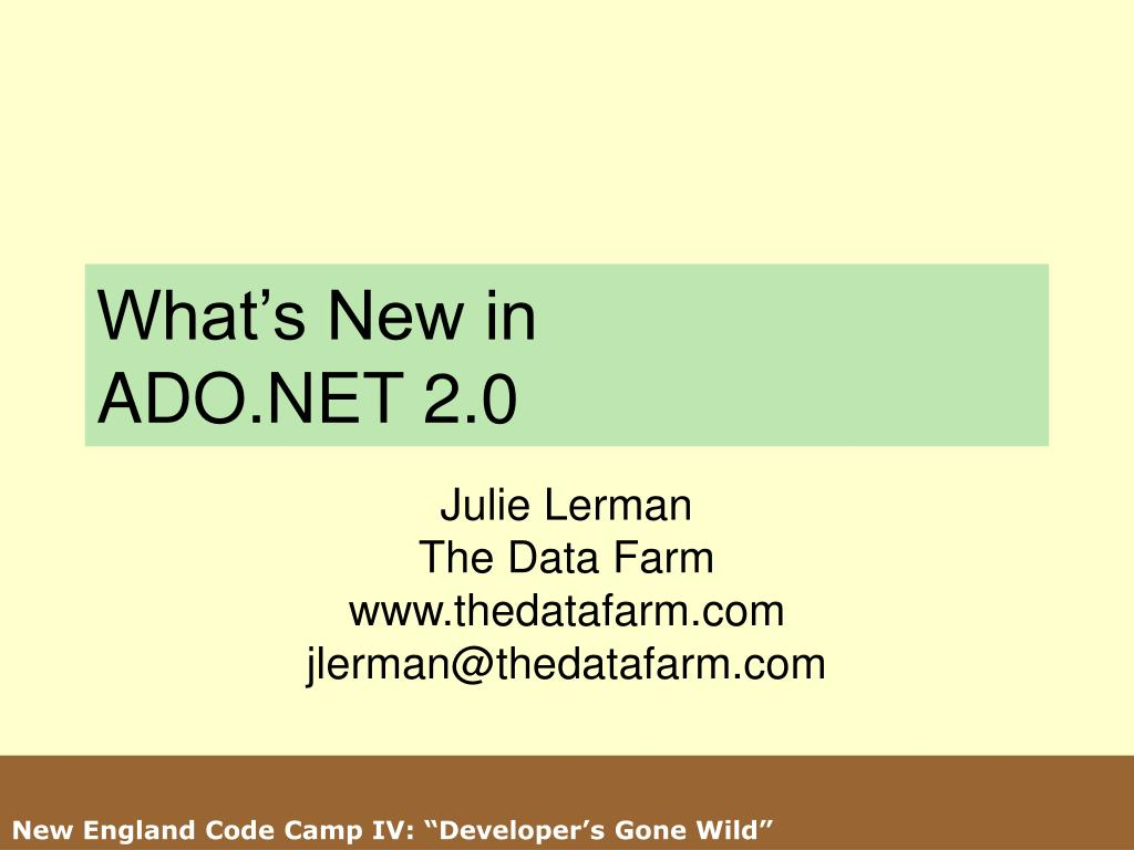 what s new in ado net 2 0