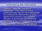 addressing the standards