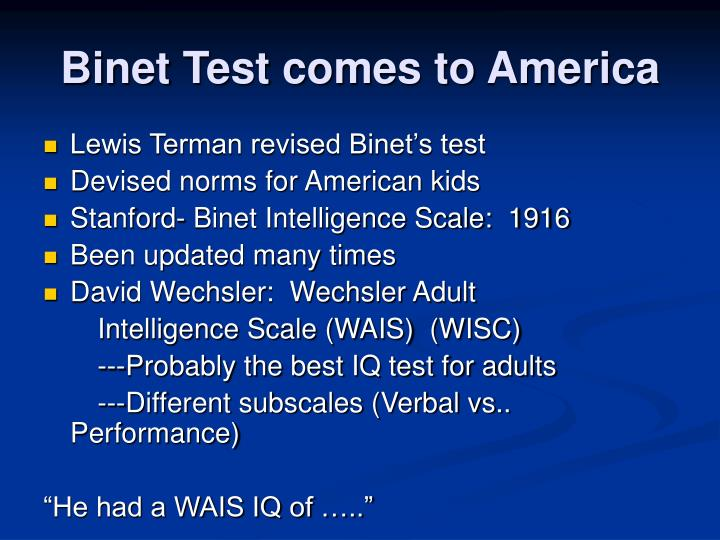 Binet Test comes to America