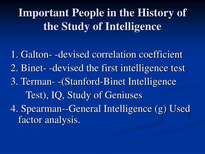 Important People in the History of the Study of Intelligence
