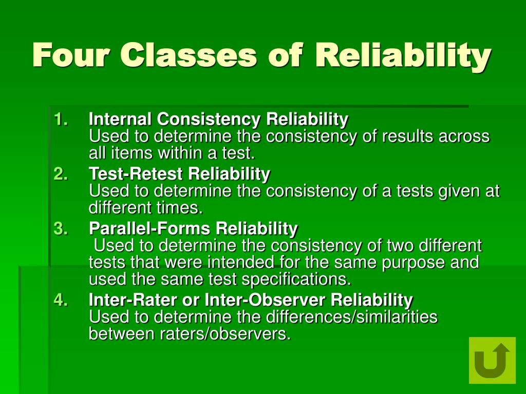 Four Classes of Reliability