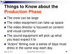 things to know about the production phase