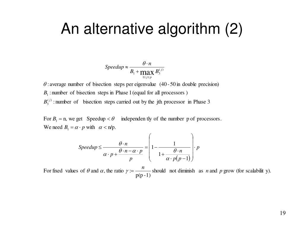 An alternative algorithm (2)