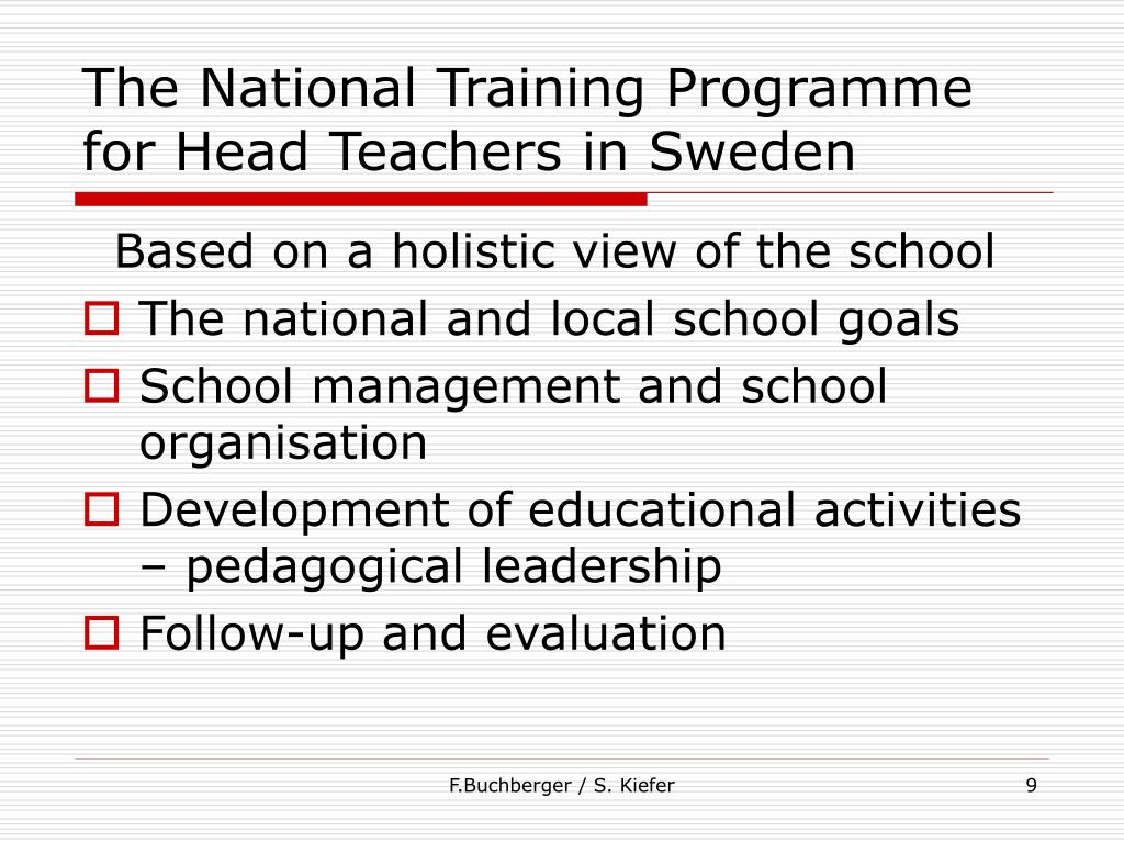 The National Training Programme for Head Teachers in Sweden