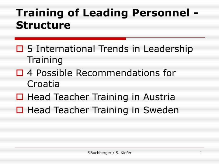 Training of leading personnel structure