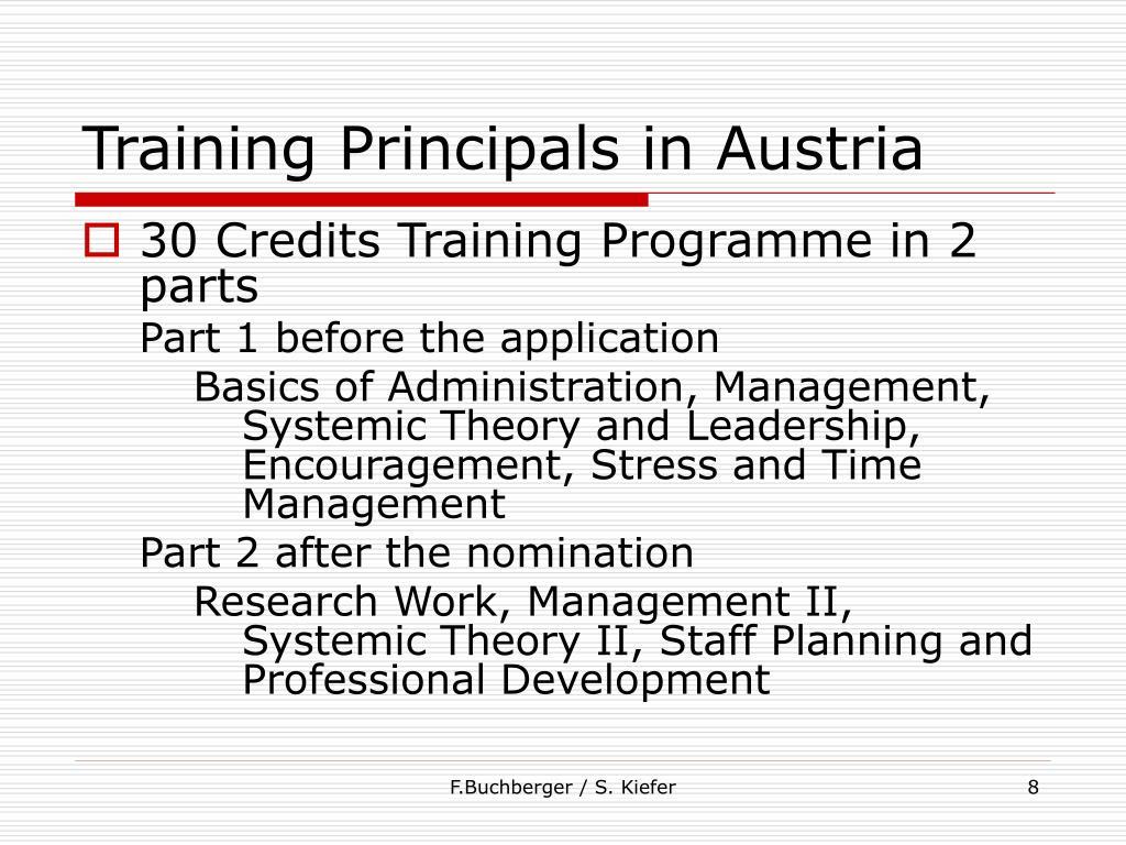 Training Principals in Austria