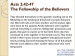 acts 2 42 47 the fellowship of the believers