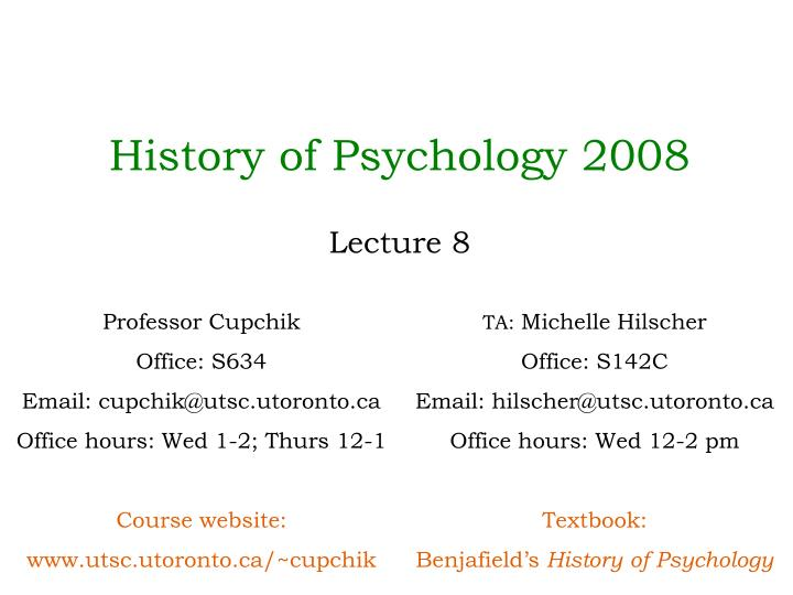 History of Psychology 2008