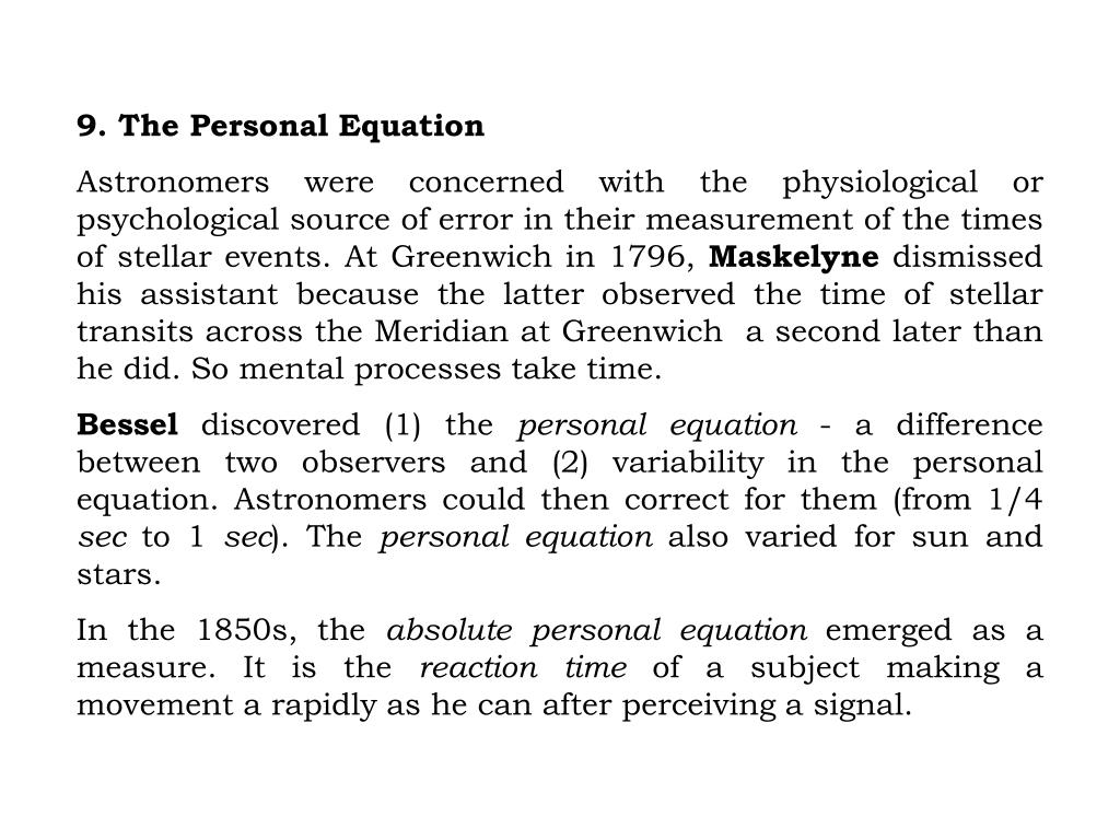 9. The Personal Equation