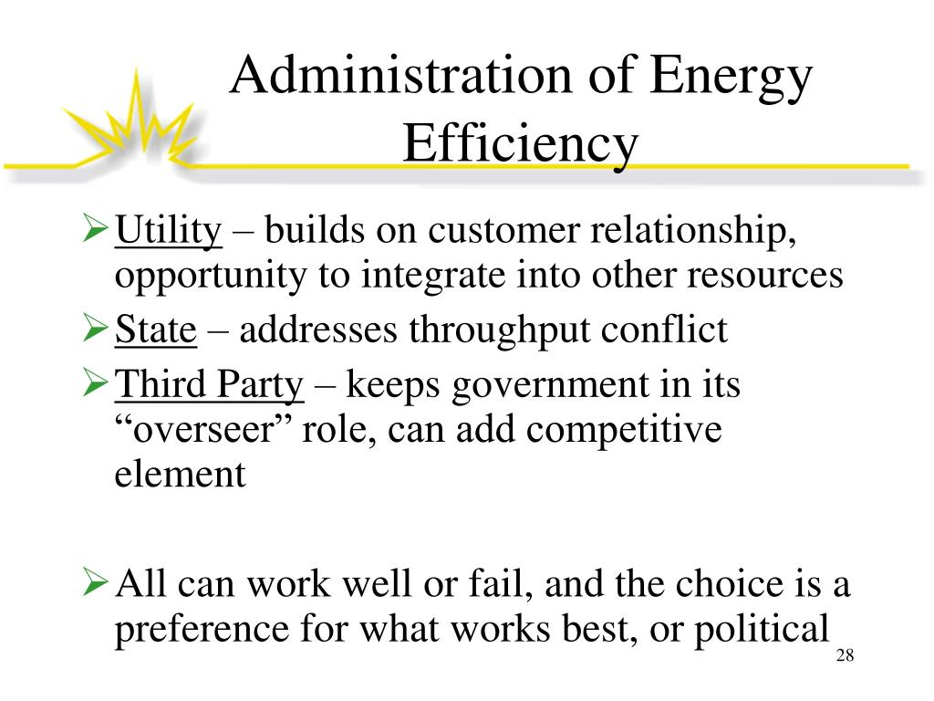Administration of Energy Efficiency
